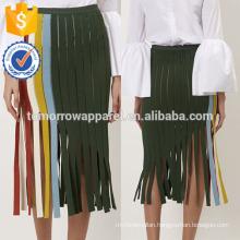 New Fashion Green Fringed Stripe Summer Mini Daily Skirt DEM/DOM Manufacture Wholesale Fashion Women Apparel (TA5012S)
