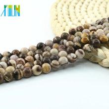 L-0145 AAA Grado Cuentas de jaspe cebra australiana Granos marrones de color mezclado Cuentas de piedras preciosas naturales mate