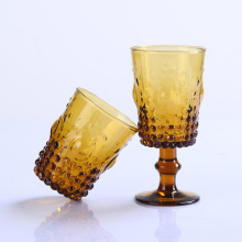 Solid Amber Color Glass Tumbler And Goblet