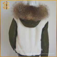 2017 Горячая продавая дешевое неподдельное пальто шерсти лисицы девушки вниз Parka