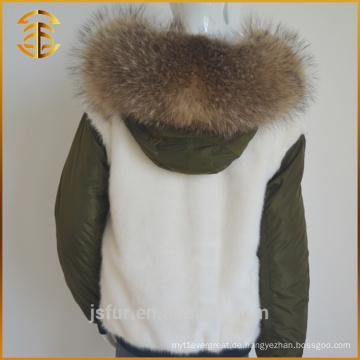 Neuer echter Raccoon Womens Real Coat Gefüttert Pelz Parka