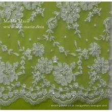 Tecido elástico de rendas de alta qualidade com flor de bordado de cinto com moldura para vestido de noiva Desgin 52 '' No.CA094B