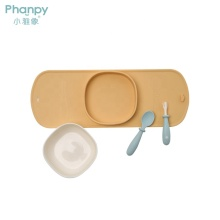 Juego de cubiertos de silicona portátil para bebés para niños
