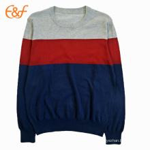 Color Combination Plain Cotton Sweater For Mens