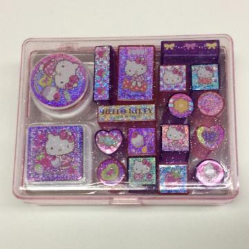 plastic cartoon playful portable stamp set