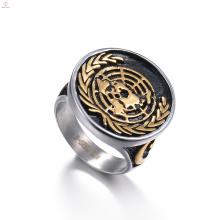 Старинные Готические Эмблема Марка Нержавеющей Стали Золото Пользовательские Печать Печатка Кольцо