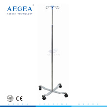 AG-SS009A hospital stainless steel iv stand with four drip hooks