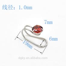 Venta al por mayor Zircon redondo de acero inoxidable oído cuff cuerpo joyas oreja clip piercing