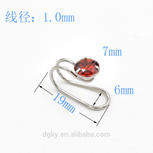 Wholesale Round Zircon stainless steel ear cuff body jewelry ear clip piercing