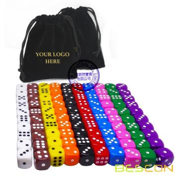 100pcs assorti en couleur 16MM Dice Set