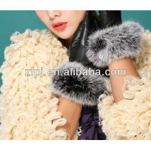 lady winter fancy rabbit fur short leather gloves factory