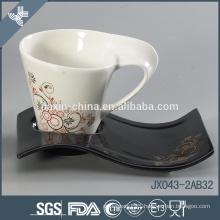 Fine bone china100cc tea cup set with gold flower decal, big cup set, color mug set