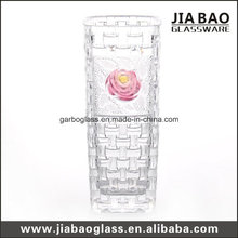 Crystal Glass Flower Vase with Colored Flower