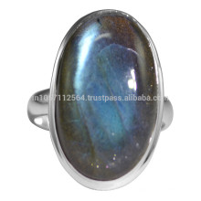 Natural Flashy Labradorite Gemstone & Sterling Silver Solitaire Ring Gor Cadeau