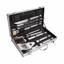 Conjunto de ferramentas para churrasco de 18 peças com estojo de transporte de alumínio