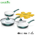 White Ceramic Coated Removable Handle Green Fry Pan