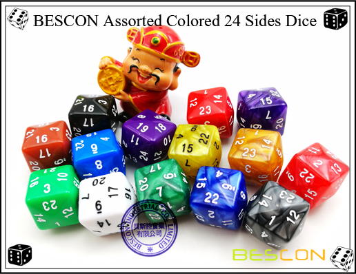 BESCON Assorted Colored 24 Sides Dice