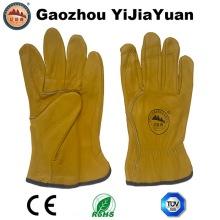 Cuero de cuero de vaca de cuero de grano de conducción guantes de trabajo