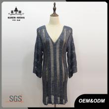 Frauen Tunika V-Ausschnitt gestreiftes Kleid