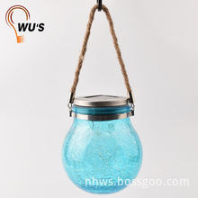 ECO-Friendly 1W solar crackle glass ball lights colorful glass hanging lamp