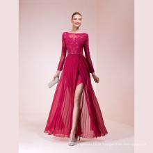 Fuchsia destacável saia laço um vestido de noite de linha