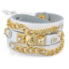 Pulseras de cuero de la cadena del acoplamiento con el oro 18K plateado, pulseras de cuero largas Precio al por mayor alta calidad