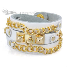 Link Chain Leather Bracelets With 18K Gold Plated,Long Leather Bracelets Wholesale Price High Quality