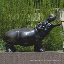 Bronze Gießerei Metall Handwerk Bronze Nilpferd Gähnen Tatue Skulptur