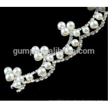 rhinestone chain Metal rhinestone cup Chain trim with pearl