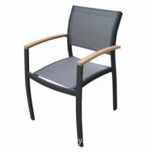 Outdoor stacking chair with teak arms, aluminum frame and textilene-garden/restaurant furniture