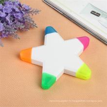 5 couleurs en forme d'étoile surligneur marqueur pour cadeau