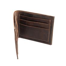 Custom Logo Smart Money Clip Men Genuine Leather 6 Credit Card Holder 1 Cash Slot Case Handmade Man Purses Wallet