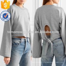 Галстук сзади укороченный хлопковая смесь Джерси Толстовка ОЕМ/ODM Производство Оптовая продажа женской одежды (TA7031H)