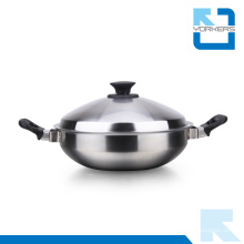 2016 Fashion Double Handle Stainless Steel Kitchenware Pot en métal
