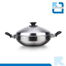 2016 moda duplo punho de aço inoxidável utensílios de cozinha pote de metal
