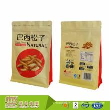 Le sac zip-lock doublé par Pe de papier de papier kraft fait sur commande de noix de pin / la serrure de fermeture éclair de papier d'aluminium tiennent la poche d'emballage alimentaire