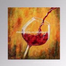 Vin rouge Peinture à l'huile faite à la main Salle de cuisine Décoration murale Art en toile étiré