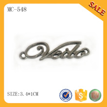 MC548 Metal letter nameplate custom garment accessory logo letter tag for coat/jacket