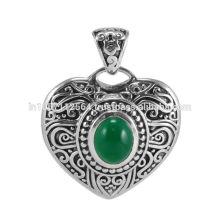 Grüner Onyx Edelstein 925 Sterling Silber Anhänger Schmuck