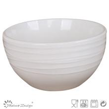 Simplemente diseñe el tazón de fuente en relieve blanco de la porcelana