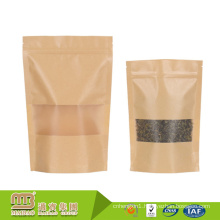 China Guangzhou Customized Size Food Packaging Round Bottom Kraft See Through Paper Bags With Window And Zip Lock
