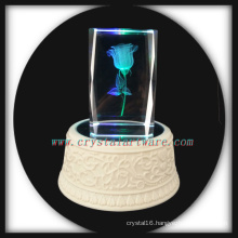 3d Laser Etched Crystal Rose with Music Rotate Led Base