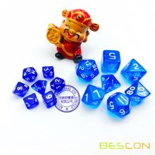 Blue Transparent Set of 7 Mini Sizes Polyhedral Role Playing Game Dice
