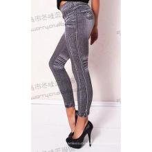 Womens Jacquard bleu Jeans pantalon Stretch legging sans couture