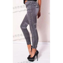 Womens Jacquard Blue Jeans Trousers Stretch Seamless Leggings