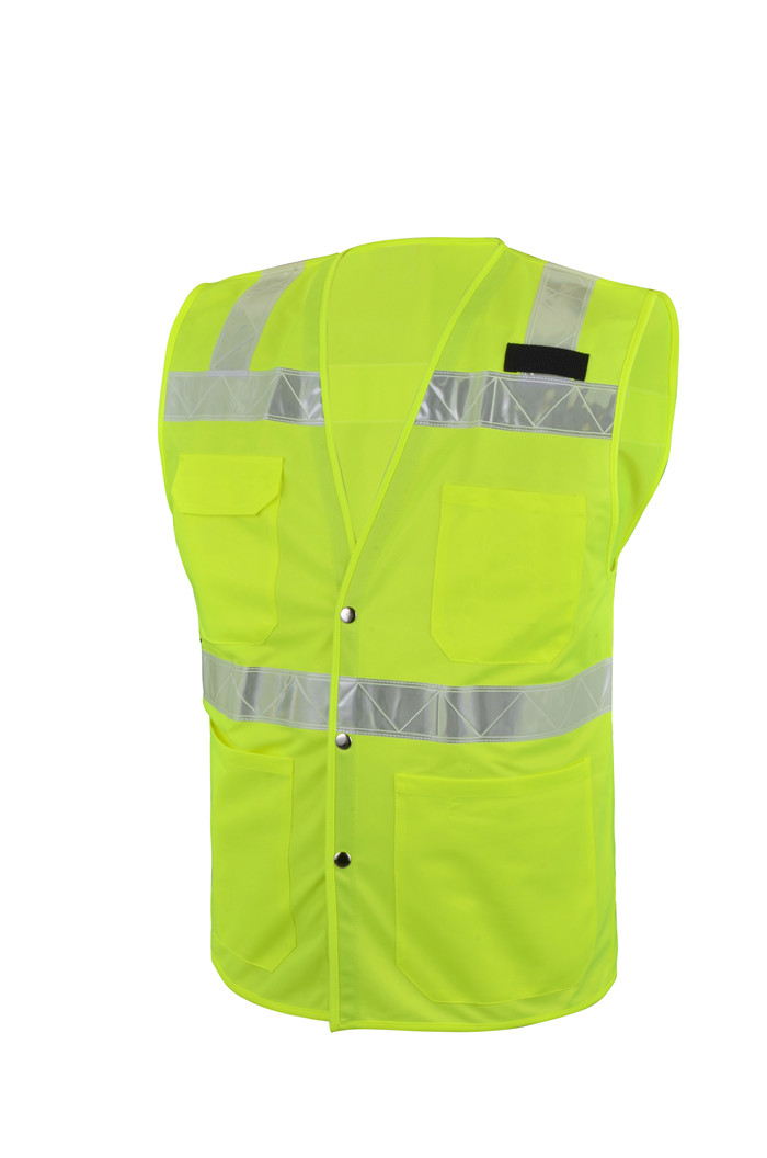 Red Construction Safety Vest with Reflective Tape