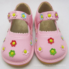 Sapatilhas Squeaky Cor-de-rosa com Flores Pequenas