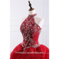 2018 Dramatic Quinceanera Robe Col Lingerie Beaded Appliques Red Organza robes de quinceanera ED025201