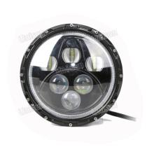 """Farol de carro LED redondo de 7 """"12 V 60 W com halo"""