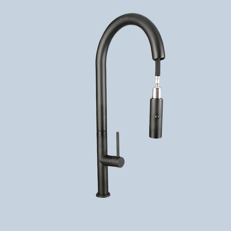 Kitchen Stainless Steel Black Pull Faucet 2
